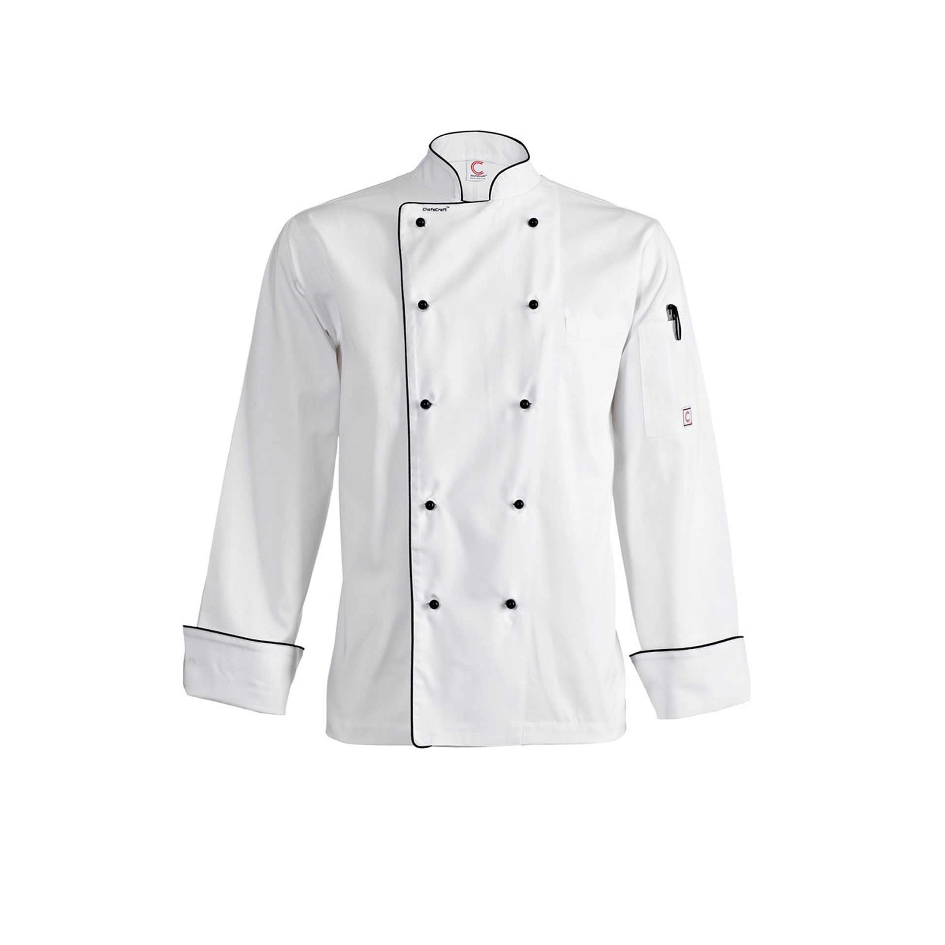 Chefscraft Executive Chefs Jacket with Piping - Long Sleeve